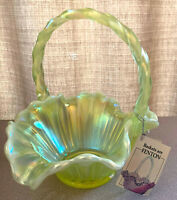 """FENTON BEAUTIFUL TOPAZ YELLOW OPALESCENT BASKET #6638 TS IN MINT CONDITION 8.5"""""""