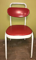 Vintage Cosco Chair Red Vinyl & White Metal with Adjustable Padded Back Rest GUC