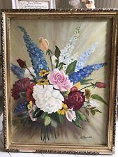Vieja Foto De Aceite De Flores 1950s Rosas bonita pintura-Shabby Chic Vintage Firmado