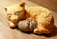 Vintage Ceramic Cat Cuddling a Happy Mouse - Adorable & Sweet - Both Sleeping