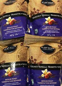 ZAVIDA HAZELNUT VANILLA WHOLE BEAN COFFEE 907g/2 LBS 1 BAG x4 FREE SHIPPING