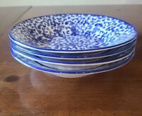 "4 Royal Majestic Stoneware Country Time Blue Splatter Sponged 8"" Soup Bowls"