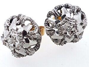 18k Diamond set stud EARRINGS_two tone GOLD_butterfly fastening