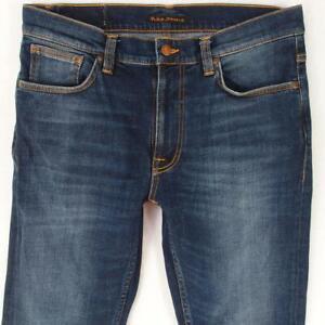 Mens Nudie LEAN DEAN Stretch Slim Skinny Blue Jeans W32 L30