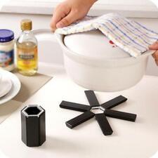 Black Folding Heat Insulation Pot Pad Non Slip Foldable Bowl Cup Coaster Mats
