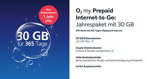 o2 Go Prepaid Sim inkl. 30GB Internet Data Jahrespaket 365 Tage LTE MAX