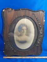 Antique Large Wood Picture Frame Oval Photo Glass Gesso Primitive Victorian VTG
