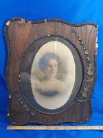 Antique Large Wood Picture Frame Oval Photo Glass Gesso Primitive Victorian VTG