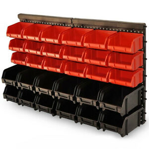 Wall Mount Storage Bin Kit - 30pcs - Red and Black with Stackable Boxes Garage