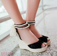 Ladies Platform Wedge Heels Peep toe Lace Peals party Wedding Sandal Shoes New