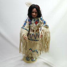 Danbury Mint J. Belle Young Girl Porcelain Doll Buckskin Clothing Beading 18in