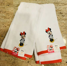 NEW Set of 2 Disney Jumping Beans Minnie Mouse White Red Hand Towel Kitchen Bath