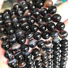 Natürliche Streifen Achat Perlen Poliert Blau 4mm Edelsteine Achatstein G848