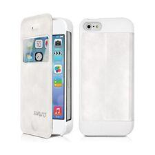 Etui S-View à Rabat Latéral Couleur Blanc Cassé pour Apple iPhone 5 + Film
