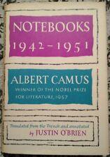 Notebooks 1942-1951 Albert Camus Justin O'Brien 1965 1st American Edition HC DJ