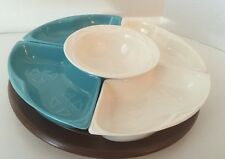 Vintage MAURICE of CALIFORNIA LAZY SUSAN teal and white  with defects