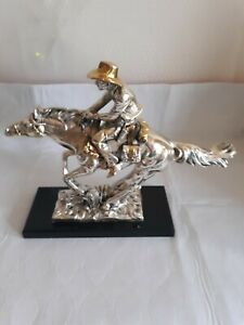 Vintage A. Santini Pony Express Horse And Cowboy Sculpture Signed .925 Silver