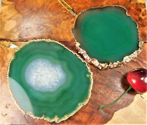 Agate Slice Necklace Extra Large Green Crystal XL Pendant Gold Plated