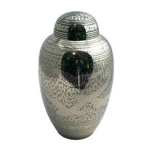 Well Lived® Brass Decorative Birds Flying Adult Cremation Urn for human ashes