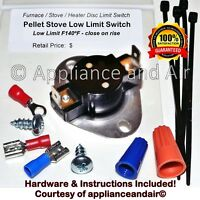 Whitfield Pellet Stove Combustion Low Limit Sensor Switch +Hardware,Instructions