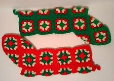 "2 Handmade Granny Square Christmas Stockings, Each 21"" Long, Very Nice Condition"