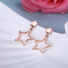 Classic Rose Gold Filled Lovely Star Dangle Earrings Wedding