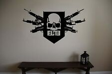 "Black Ops Guns Skull Video Game Vinyl Wall Sticker 40"" w x 22"" h"