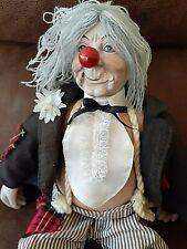 "Emmett Kelley Vintage Porcelain Hobo Clown w/cloth body 19"" Circus Doll"