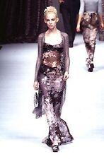 Vintage 90s Dolce Gabbana Black Silver Velvet Floral Platform High Heel Pumps 9
