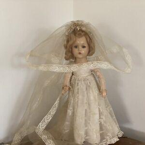 "Vintage Composition 14"" Wendy Ann Bride Doll Tagged Dress Madame Alexander"
