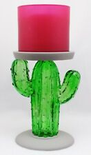 1 Bath Body Works Green Glass Cactus Pedestal 3-Wick Large Candle Holder 14.5 oz