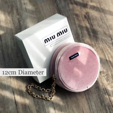Miu Miu Small Dusty Pink Velvet Pouch Cosmetic Makeup Bag with Chain New in Box