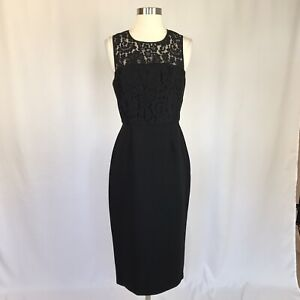 BCBGeneration Women's Cocktail Dress Size 6 Black Lace and Crepe Sheath $118