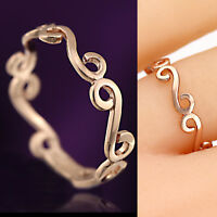 18K PLAIN ROSE GOLD GF INFINITY Celtic WOMENS GIRLS SOLID BAND Finger Toe RINGS