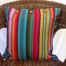 Cushion Cover Bright Multicolour Stripe Madagascar Square Cotton Throw Case New