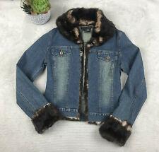 Sheri Bodell Womens Designer Jean Jacket Sz S fur trim