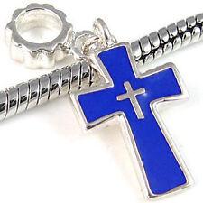 Wholesale Lot 20pcs Blue Cross Silver European Bracelet Spacer Charm Beads D569