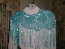 SEQUIN SHAWL WRAP BLUE TURQUOISE PROM FORMAL WEDDING PRETTY GLITTERING NEW