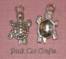 10 x Tibétain Argent Tortue Turtle Tortue Charms Pendentifs Perles