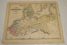 1869 McNally Antique Color Map of PRUSSIA, DENMARK, HOLLAND, BELGIUM