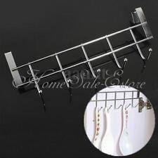Stainless Steel Over The Door Home Bathroom Coat Towel Hanger Rack 5 Hooks