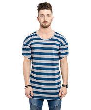 Phoenix Oversize Striped Drop Shoulder T-Shirt Blue Grey Longshirt Tee Men's