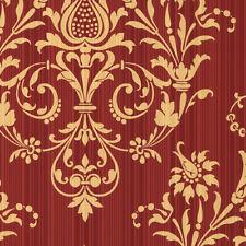 Constantine Wallpaper Red, Metallic Gold Norwall Wallcovering Cs27362