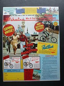 Vtg 1966 Ad - Schwinn Sting-Ray Fastback Disneyland Contest 1960's muscle bike