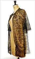 ANTIQUE pelerine LACE SHAWL CAPE MANTILLA VICTORIAN 1880'S DRAMATIC GOTHIC