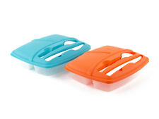 Pack of 2 Plastic Bento Lunch Box Set with Utensils - Food Storage Containers