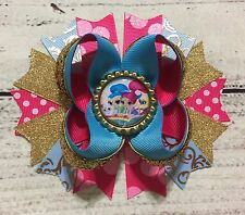"""5"""" Shimmer and Shine Stacked Boutique Hair Bow Handmade Babies Toddlers Girls"""