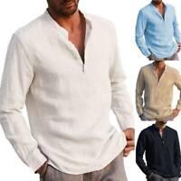 Herren Stehkragenhemd Freizeithemden Langarm Hemden Shirt Loose Henley T-Shirts