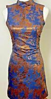 Spotlight Warehouse Size 6 Jacquard Pencil Dress Blue Gold Floral Halter Neck