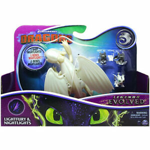 READ INSIDE!! Dragons Legends Evolved LIGHTFURY 3 BABY NIGHTLIGHTS Figure Dragon